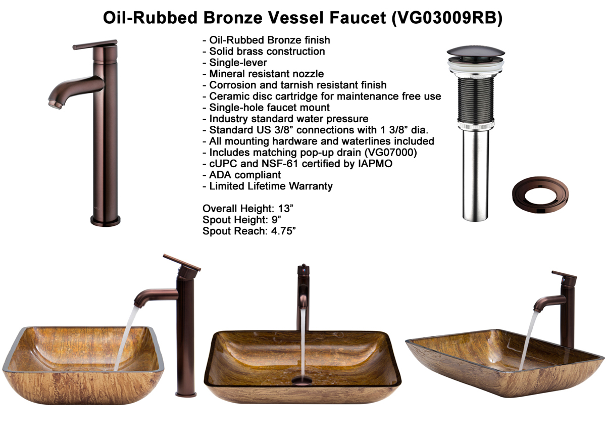 Faucet Set 3 - Vessel Faucet in Oil-Rubbed Bronze (VGT292)