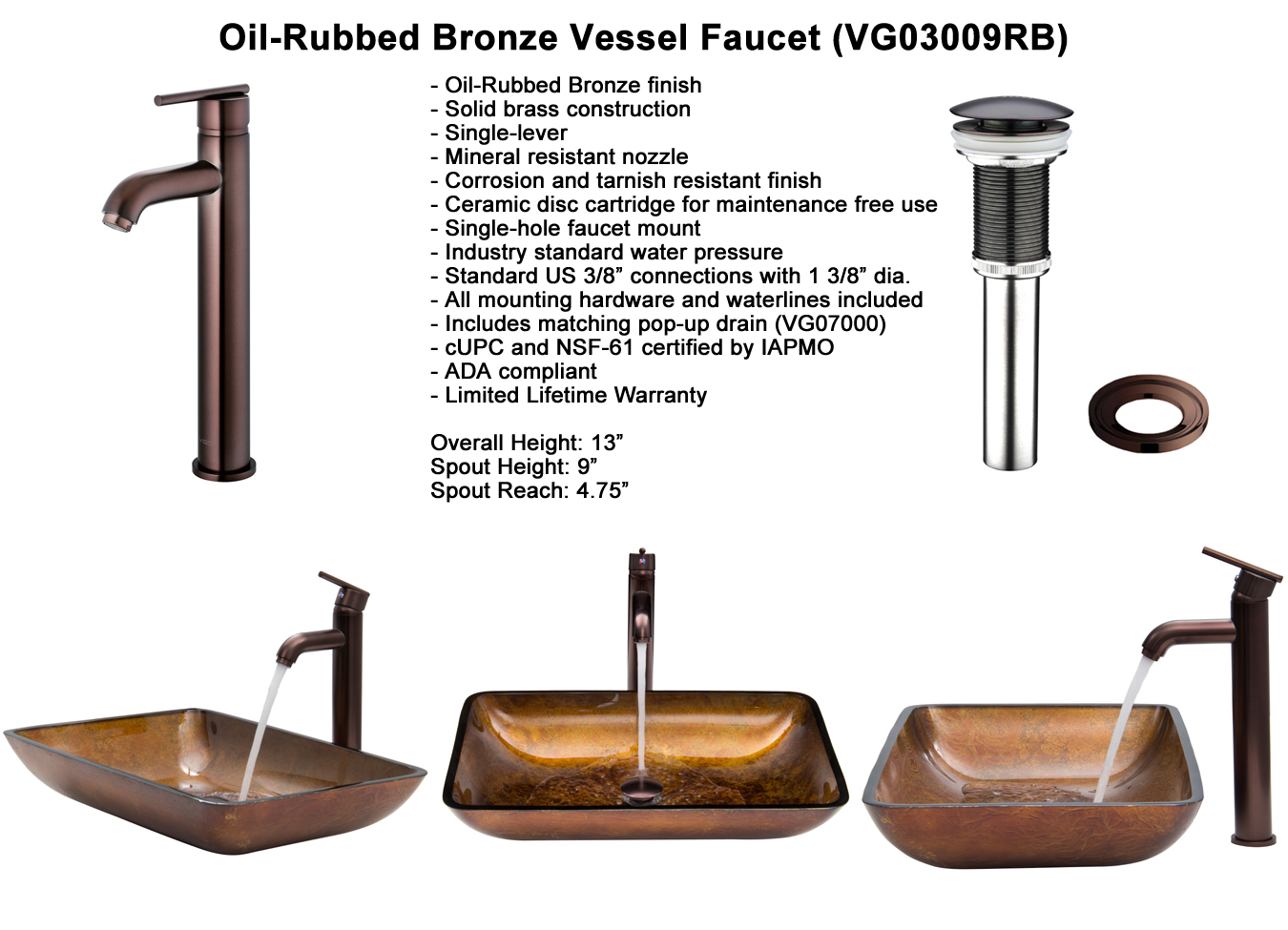 Faucet Set 2 - Waterfall Faucet in Oil-Rubbed Bronze (VGT007RBRCT)