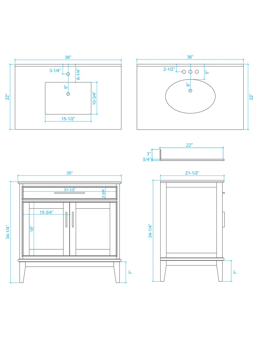 "36"" Hatton Single Bath Vanity - Dimensions"