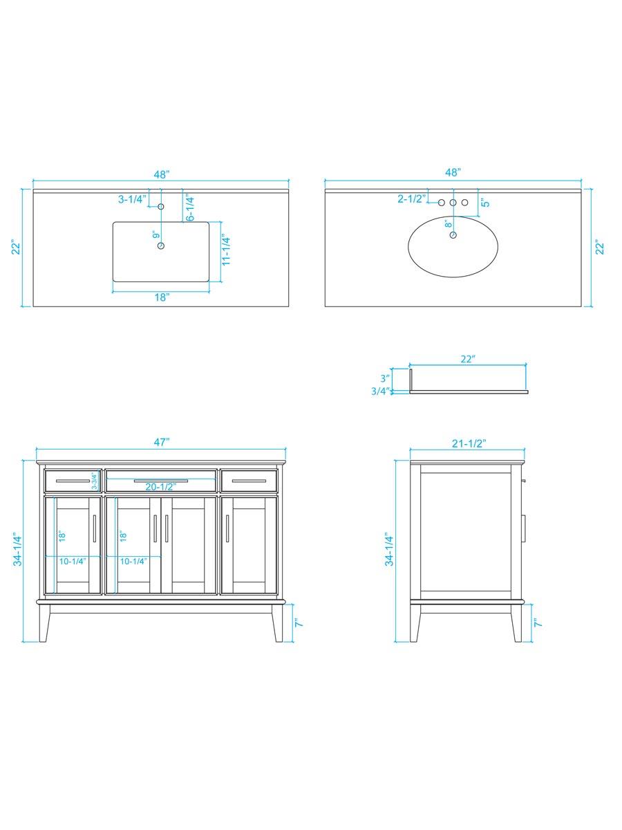 "48"" Hatton Single Bath Vanity - Dimensions"