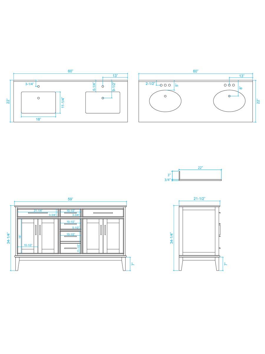 "60"" Hatton Double Sink Vanity - Dimensions"