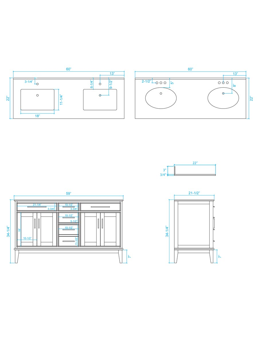 "60"" Hatton Double Sink Vanity - Dimensions"