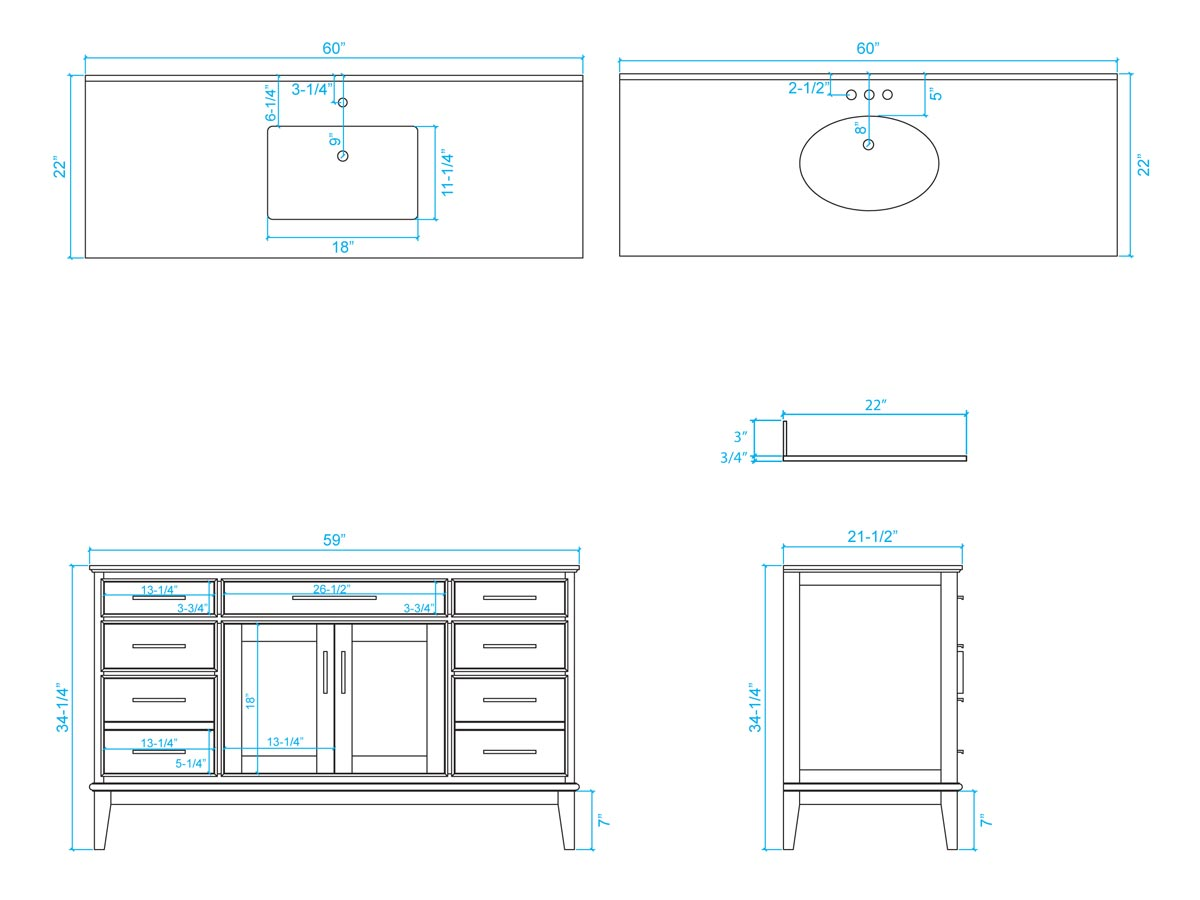 "60"" Hatton Single Bath Vanity - Dimensions"