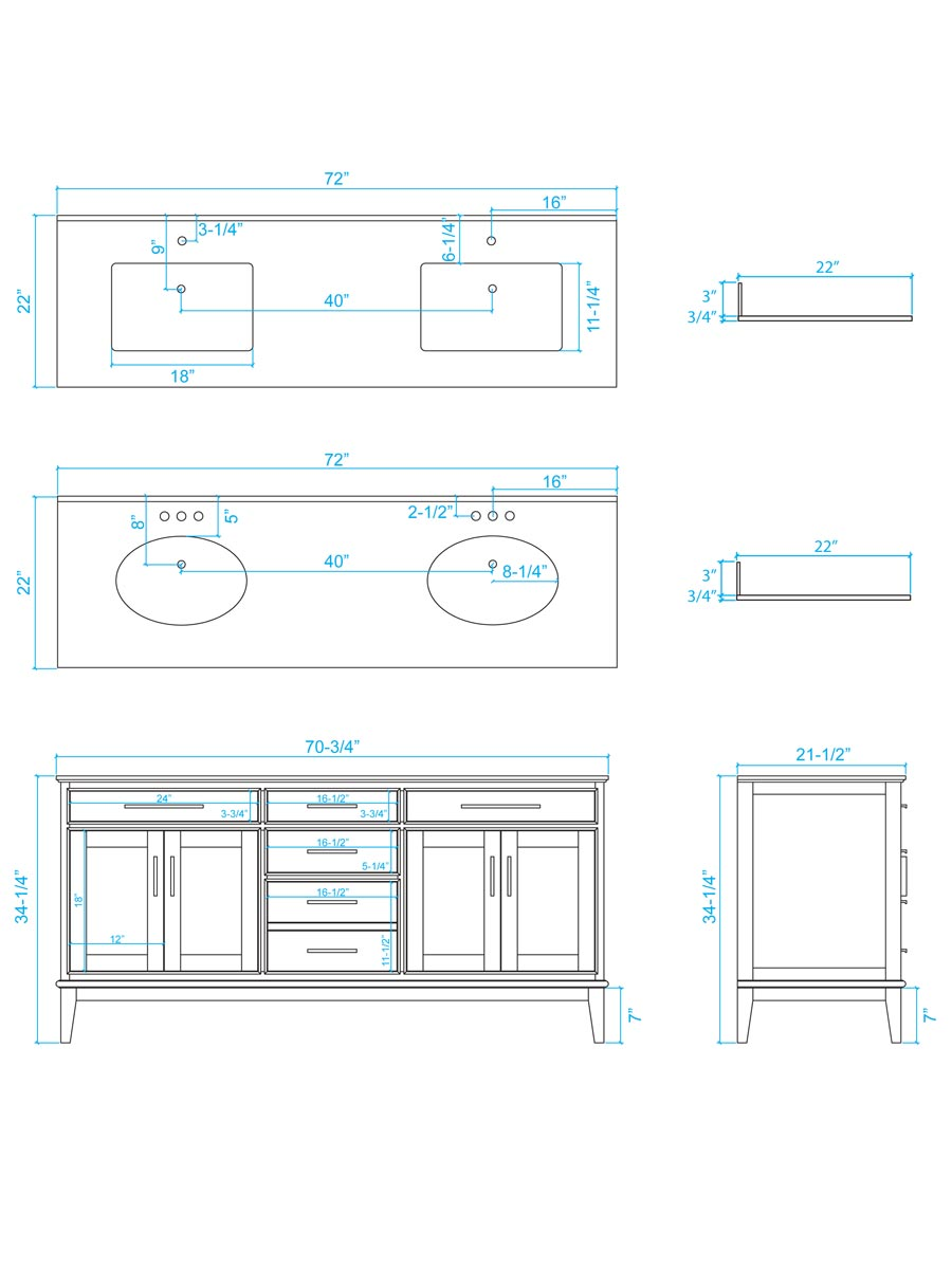 "72"" Hatton Double Sink Vanity - Dimensions"