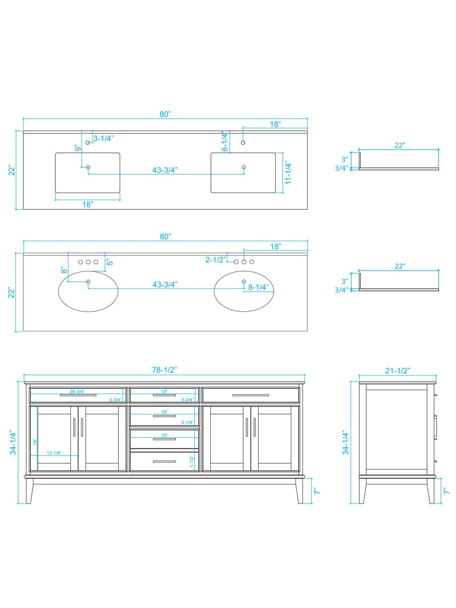 "80"" Hatton Double Sink Vanity - Dimensions"