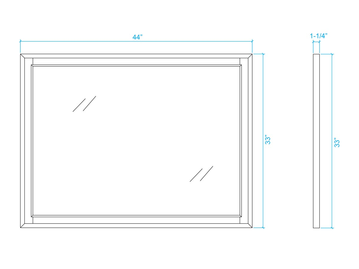 Optional Large Mirror - Dimensions