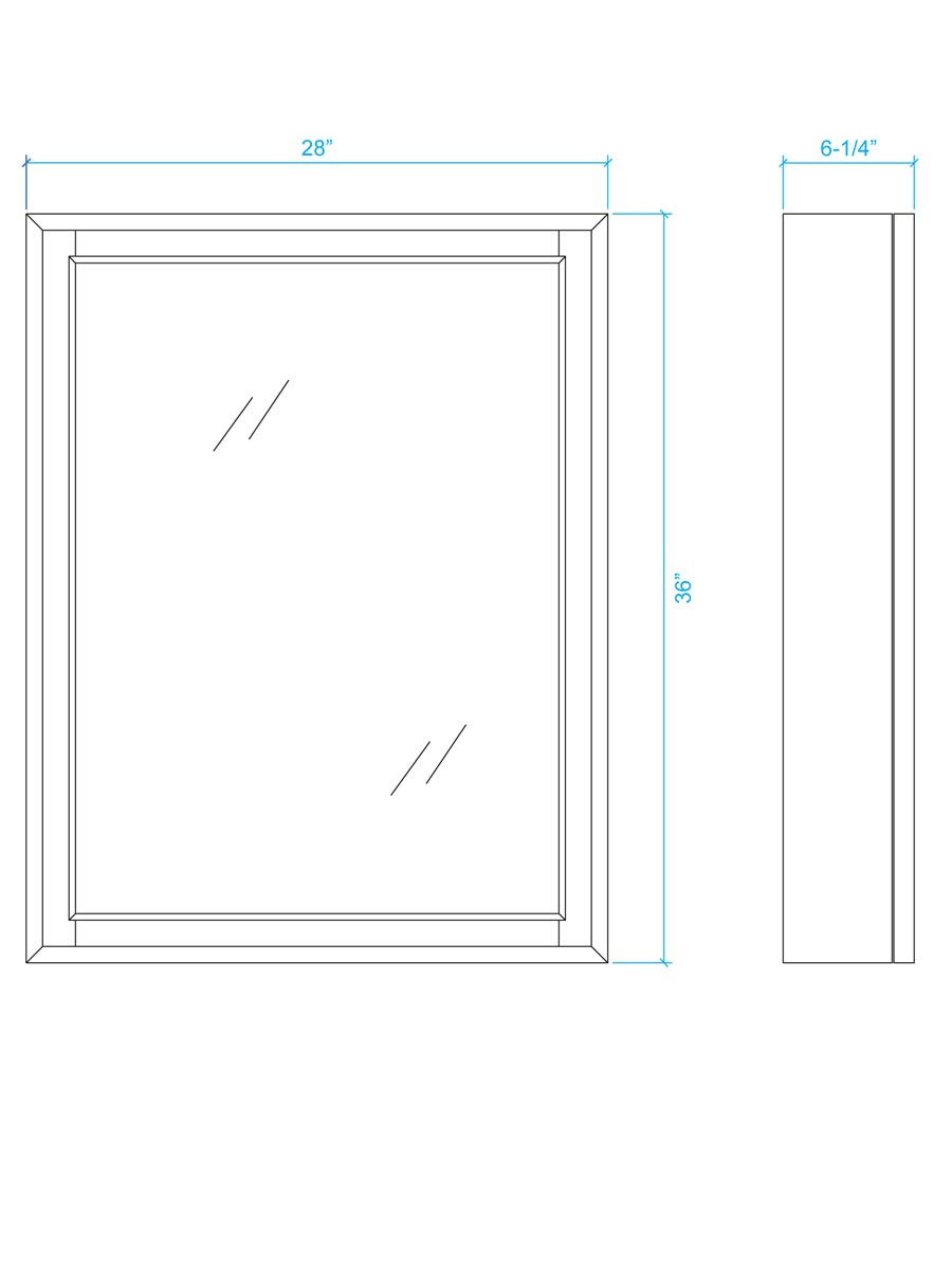 Optional Medicine Cabinet - Dimensions