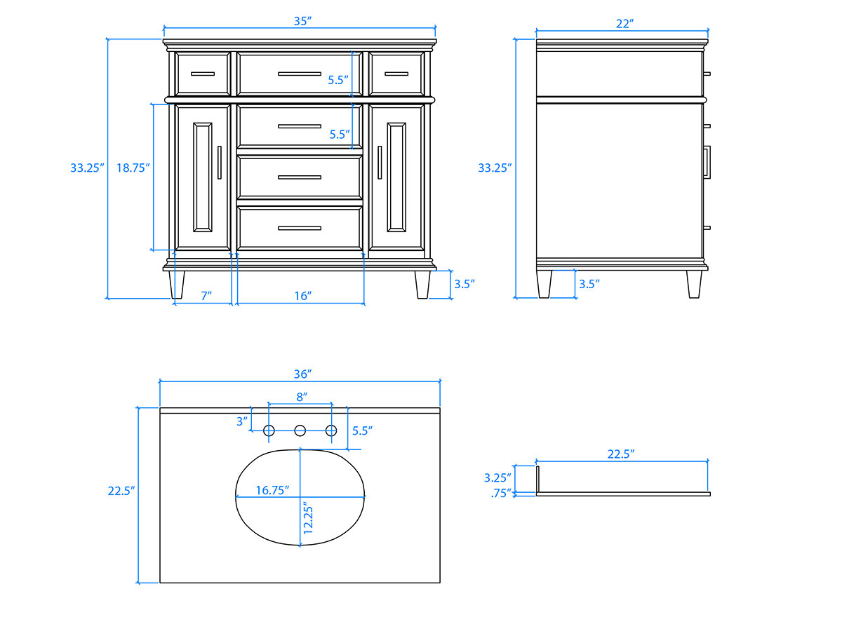 "36"" Berkeley Single Bath Vanity - Dimensions"