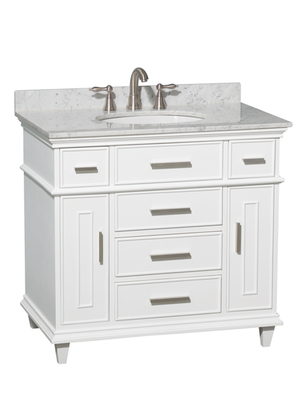 "36"" Berkeley Single Bath Vanity - Shown With Carrera White Marble Top"
