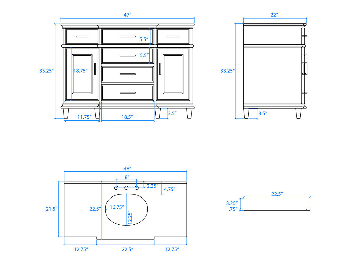 "48"" Berkeley Single Bath Vanity - Dimensions"