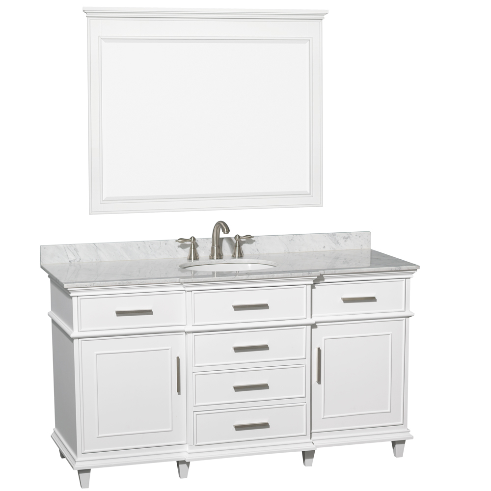 Carrera White Marble Top - Shown With Small Mirror