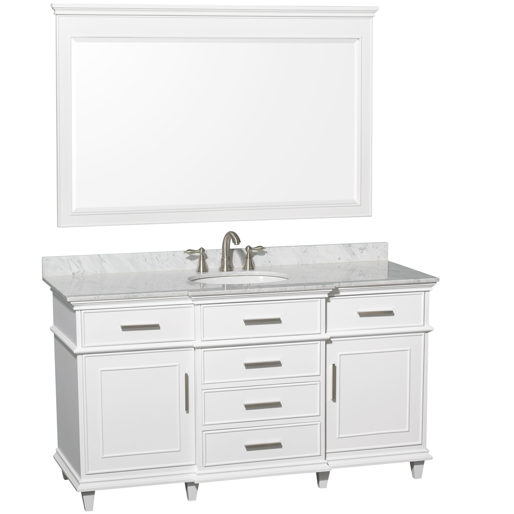 Carrera White Marble Top - Shown With Large Mirror
