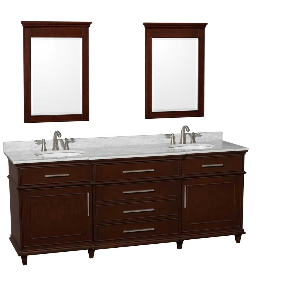 Carrera White Marble Top - Shown With Small Mirrors