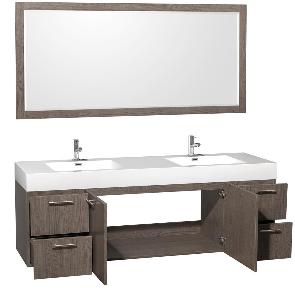 """72"""" Amare Double Sink Vanity - Grey Oak"""