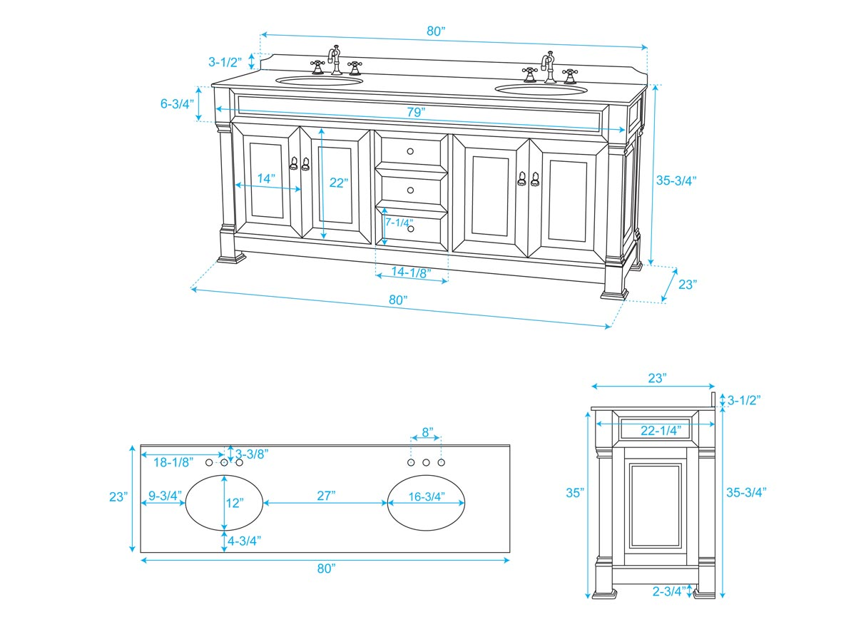 "80"" Andover Double Vanity - Dimensions"