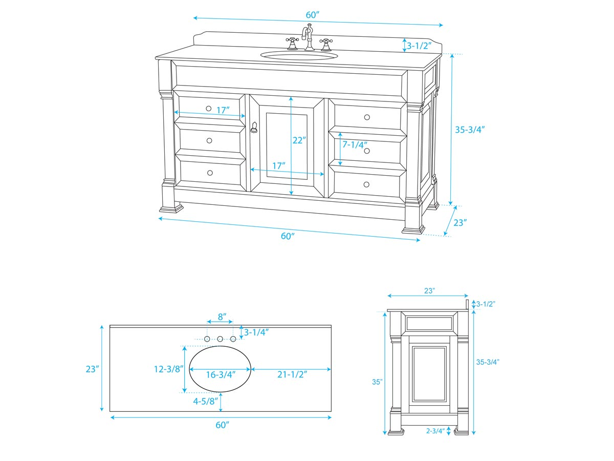 "60"" Andover Single Bath Vanity - Dimensions"