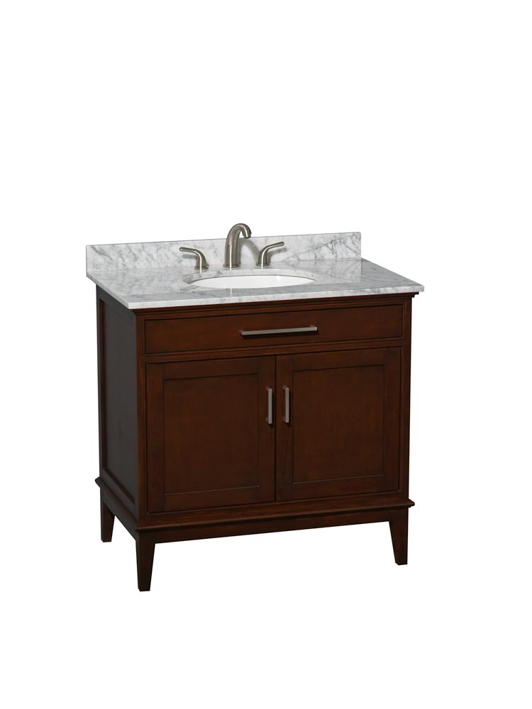 White Carrera Marble Top with Round Sinks