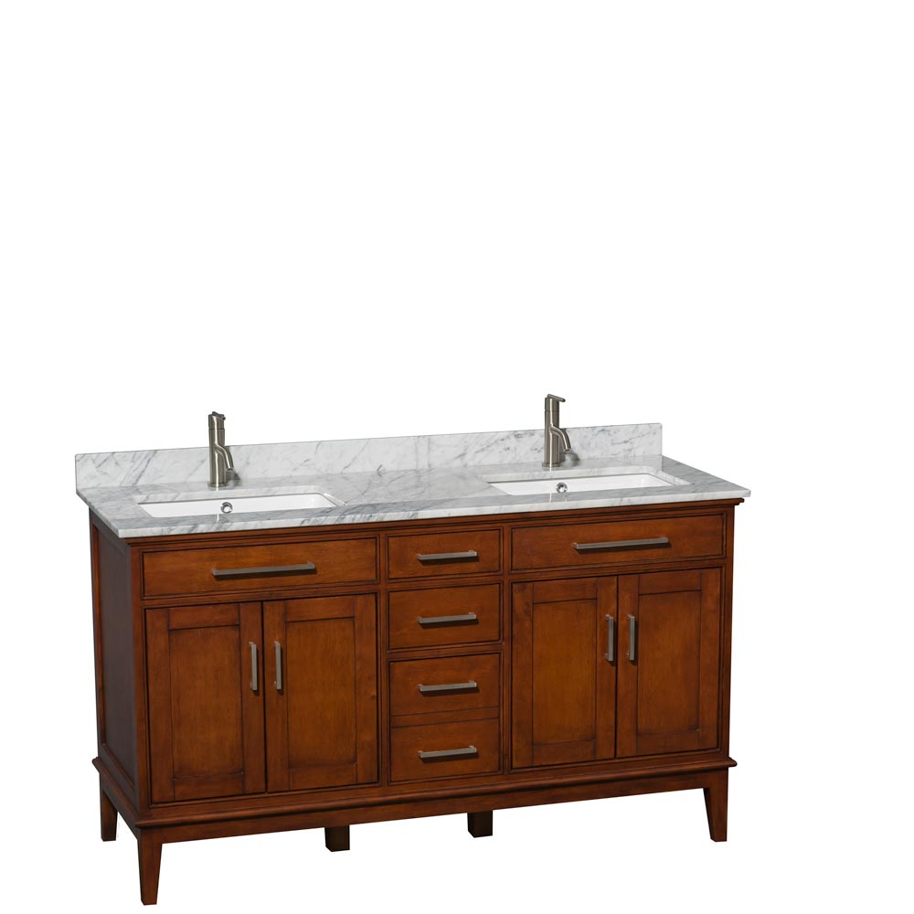 White Carrera Marble Top with Square Sinks