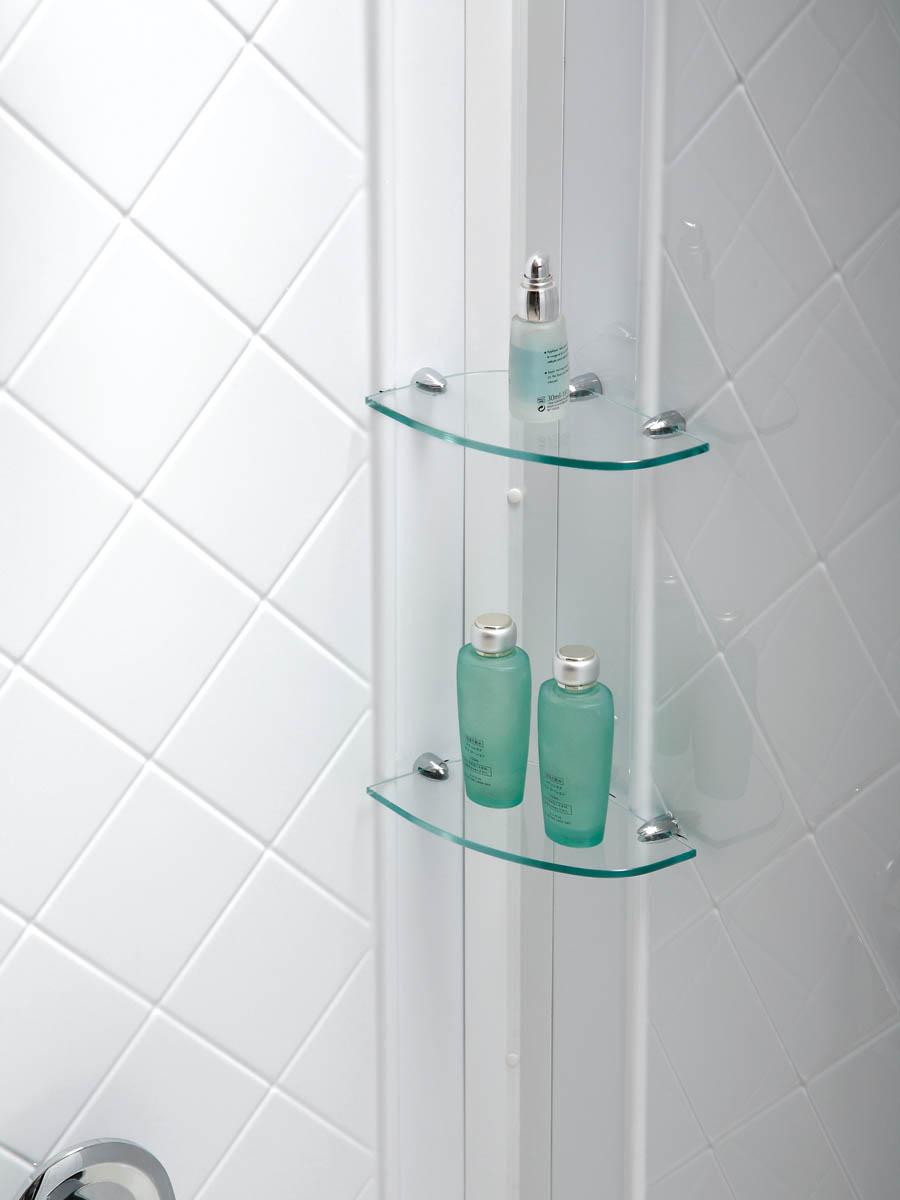 Integrated glass shelves