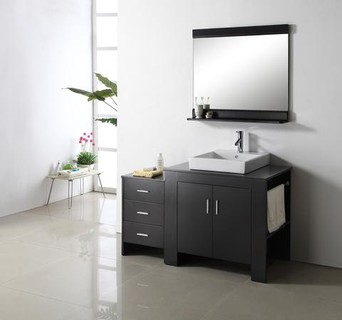 Veneto Single Bathroom Cabinet with Optional Side Cabinet