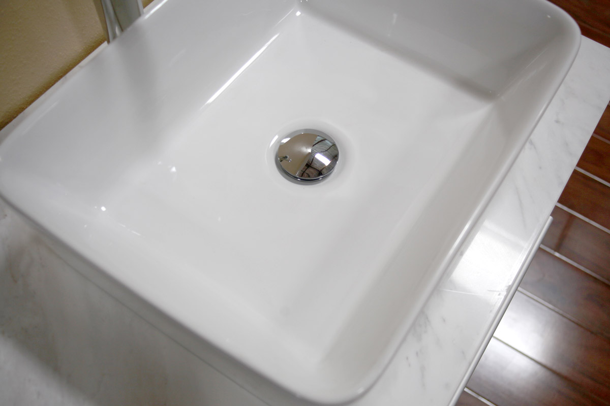 Carrera Marble Top and Porcelain Sink