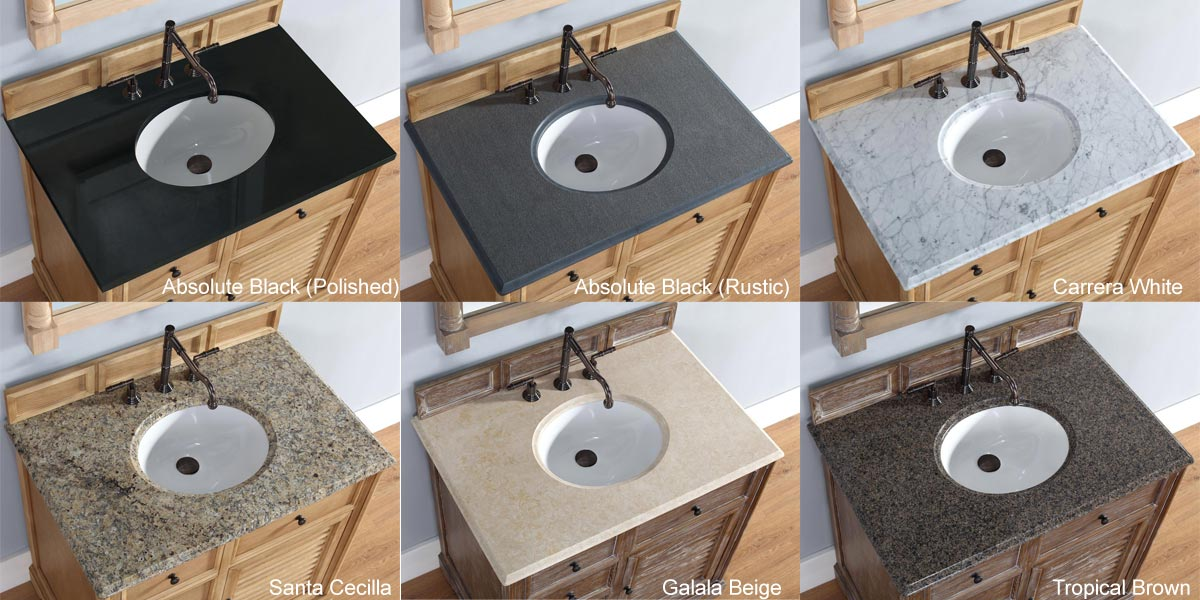 Stone Top Options (Shown on a different vanity)