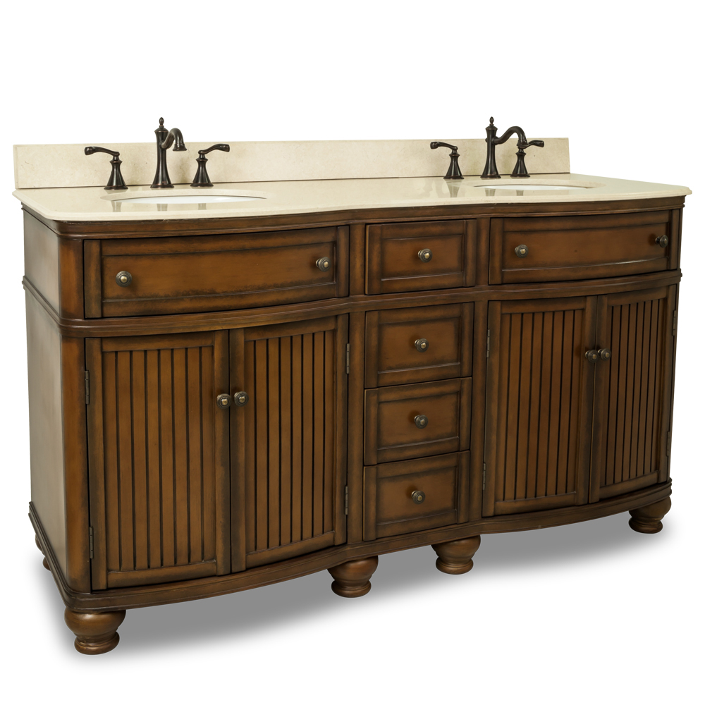 "60.5"" Venice Double Sink Vanity With Cream Marble Top"