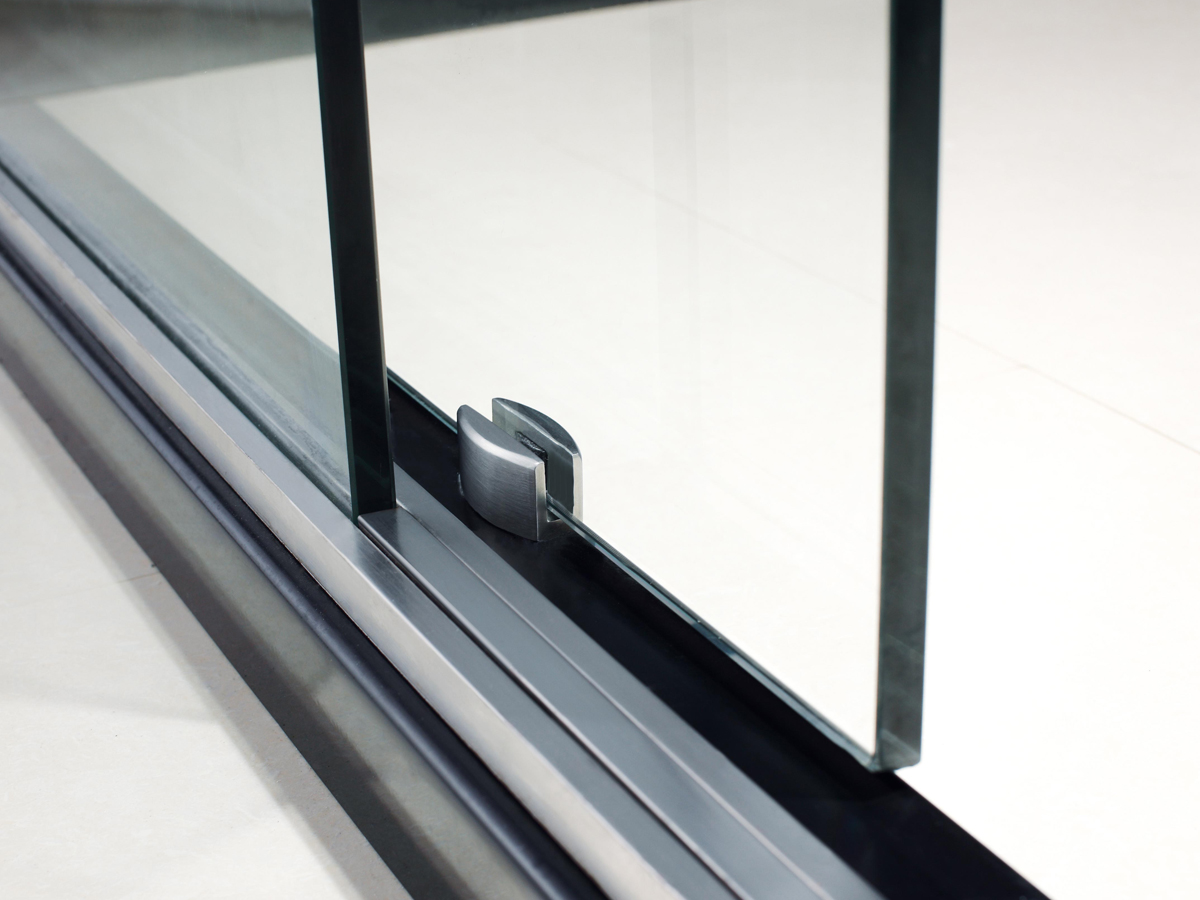 Zurich Sliding Shower Door - Brushed Steel Hardware