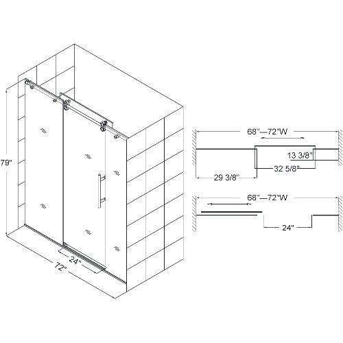 """Dimensions for 72"""" Door"""