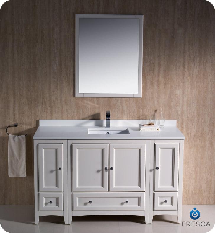 "54"" oxford single bath vanity - white - bathgems"