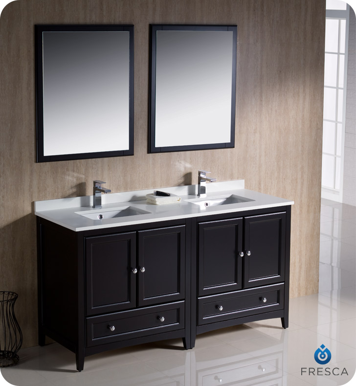 Superior 60 Oxford Double Vanity Sink Espresso Bathgems Com