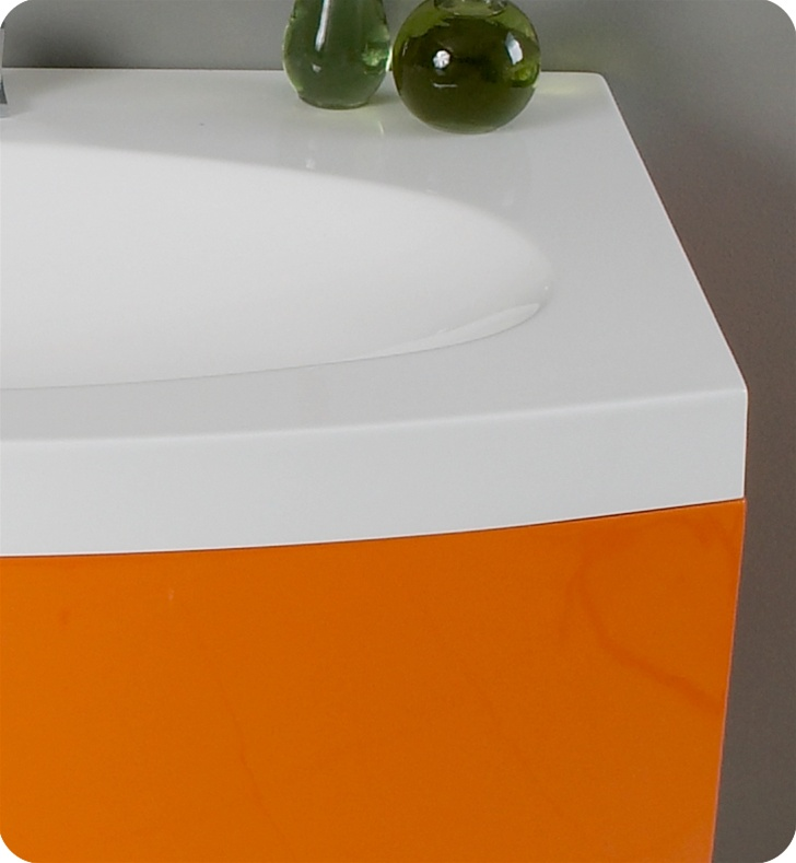 "Energia White Modern Bathroom Vanity 36"" energia single bath vanity - orange - bathgems"