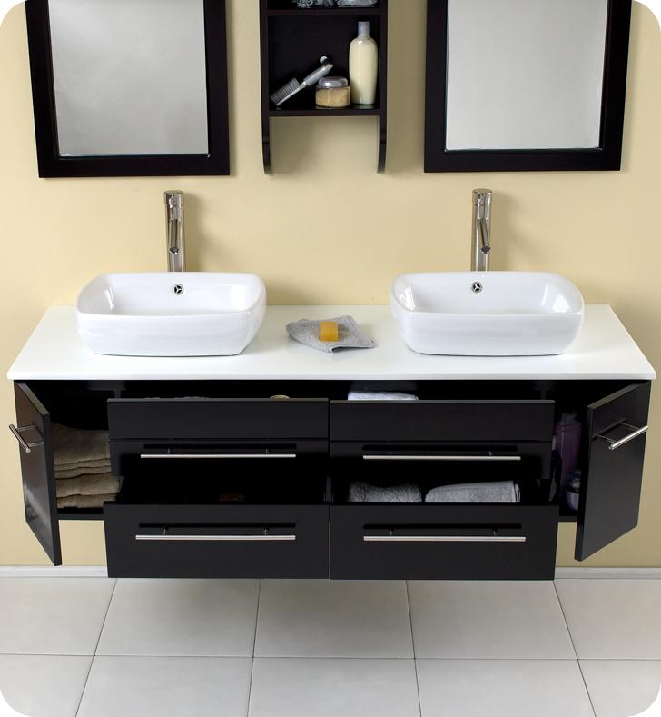 59 Bellezza Double Vessel Sink Vanity Espresso