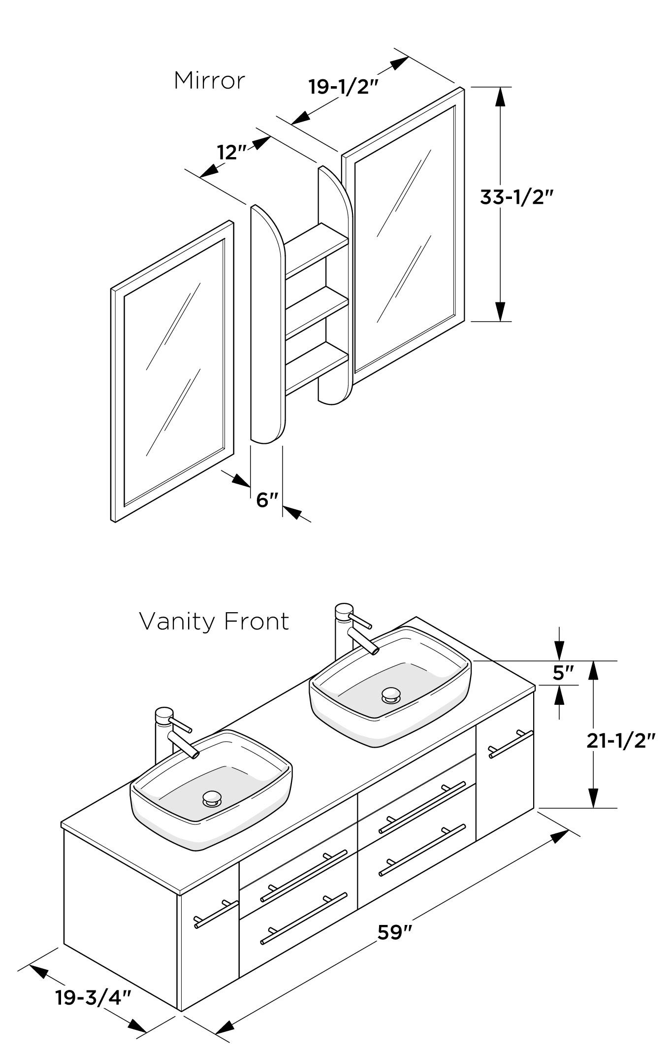 Double bathroom sink dimensions - Dimensions