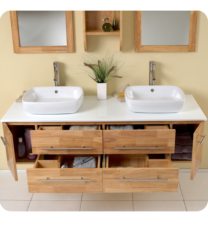 Double Vessel Sink Vanity Natural Wood Finish 59 Bellezza Bathgems com