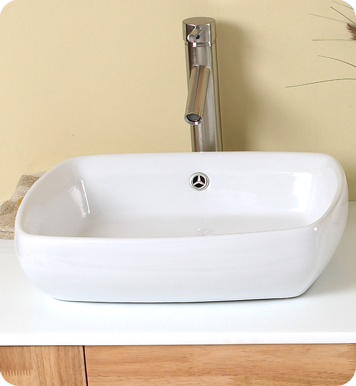 59 Bellezza Double Vessel Sink Vanity Natural Wood