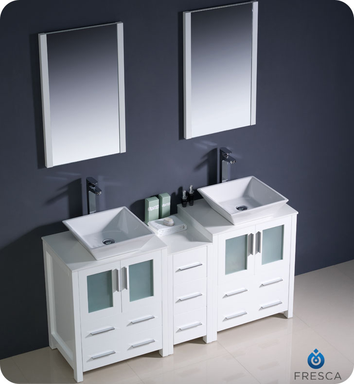 60 In Double Sink Bathroom Vanity. Torino Double Vessel Sink Vanity 60  to 84 White Bathgems com