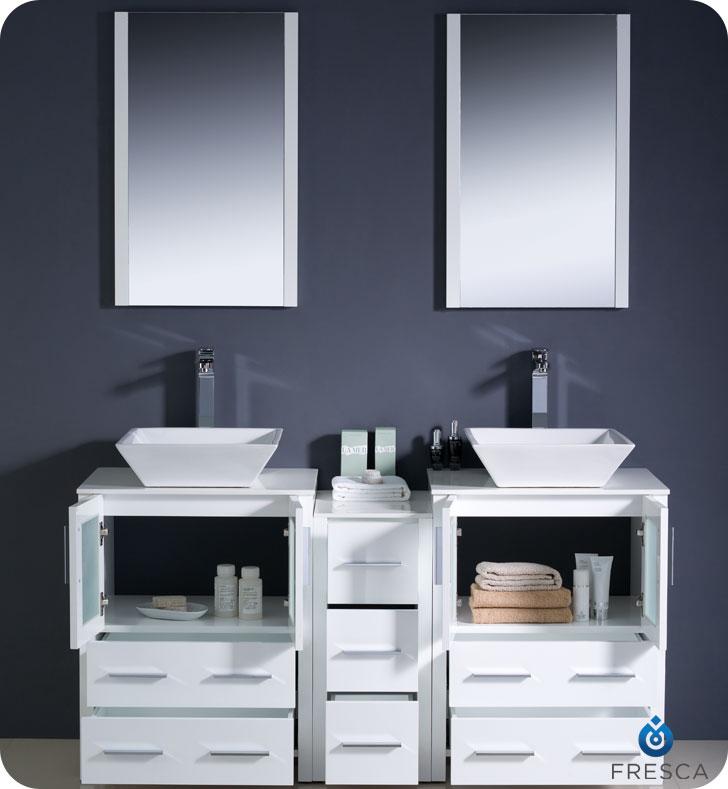 60 To 84 Torino Double Vessel Sink Vanity White