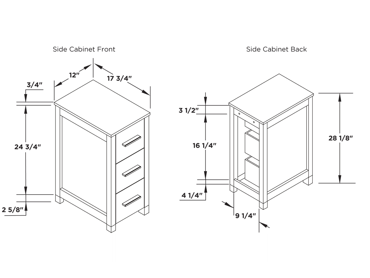 Dimensions Of Side Cabinet