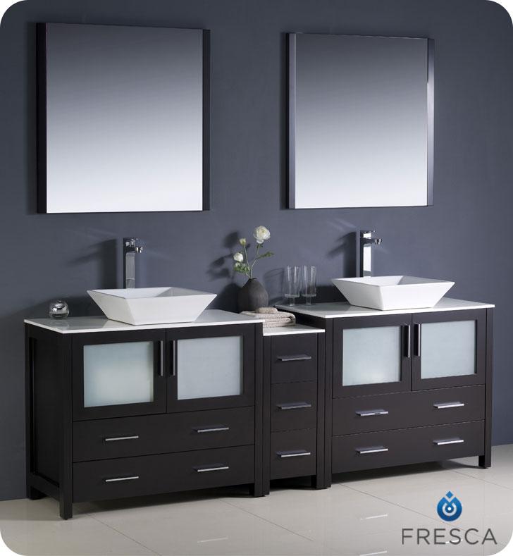 "Extra Wide Double Bathroom Vanity 83.5"" torino double vessel sink vanity - espresso - bathgems"