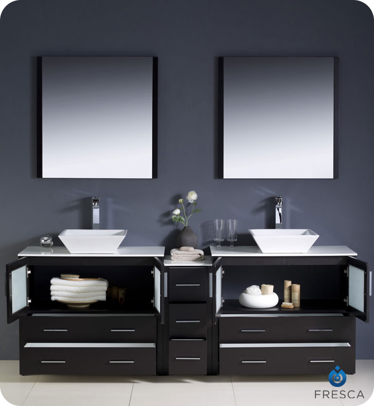 double vessel sink vanity. 83 5  Torino Extra Wide Vessel Sink Vanity Double Espresso Bathgems com
