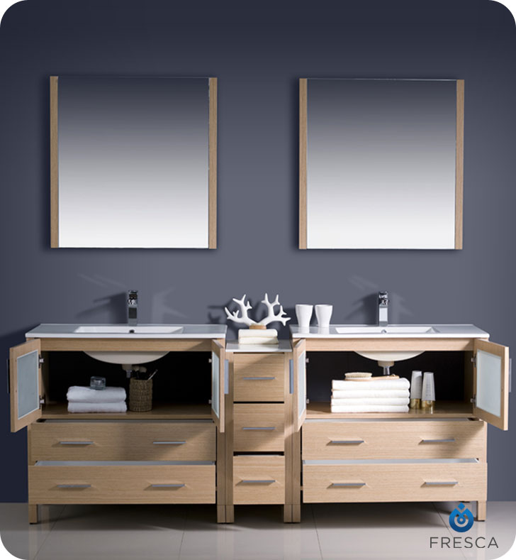 "Extra Wide Double Bathroom Vanity 83.5"" torino double sink vanity - light oak - bathgems"