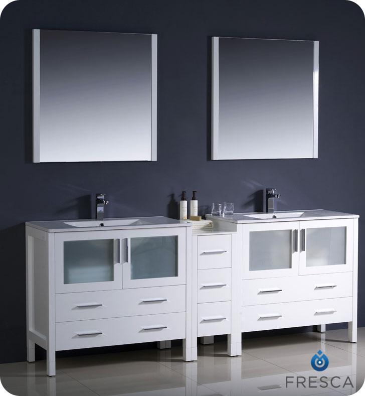 "Extra Wide Double Bathroom Vanity 83.5"" torino double sink vanity - white - bathgems"