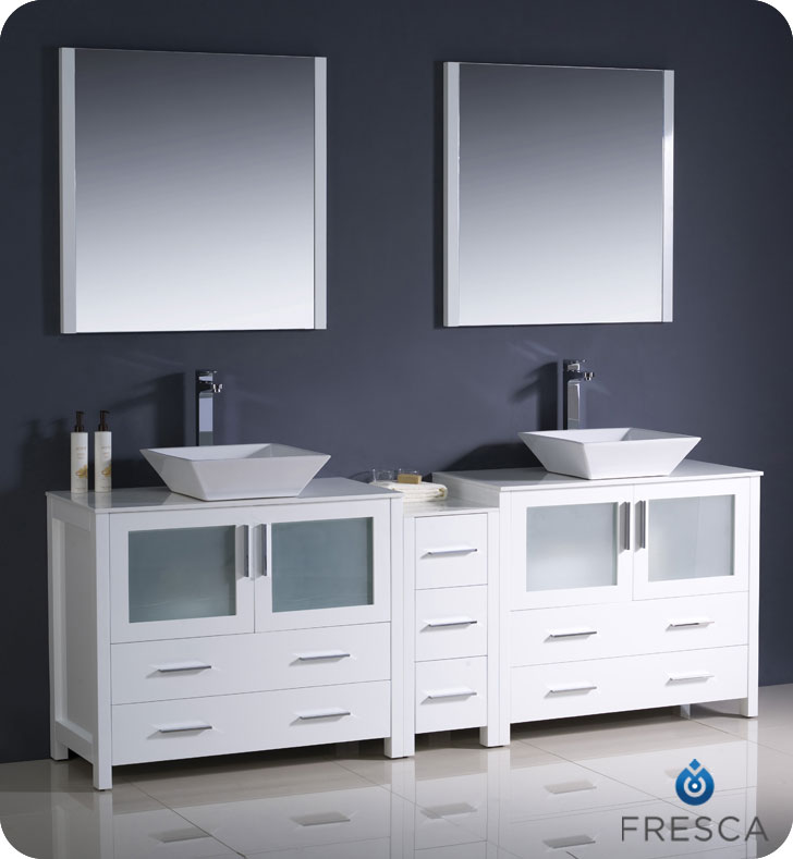"Extra Wide Double Bathroom Vanity 83.5"" torino double vessel sink vanity - white - bathgems"