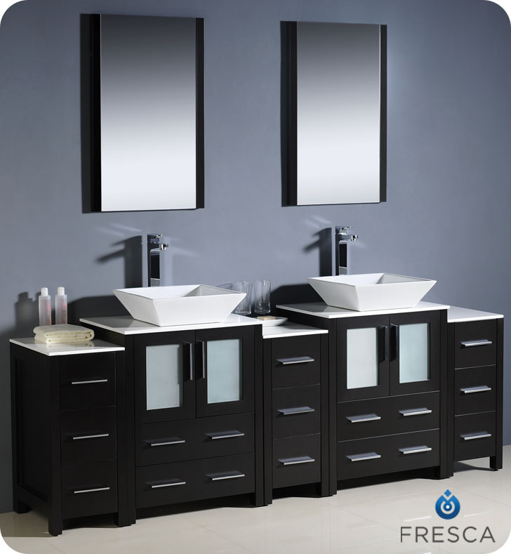 "Bathroom Vanity Vessel Sink Cheap 60"" to 84"" torino double vessel sink vanity - espresso - bathgems"