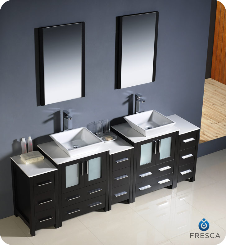 Torino Double Vessel Sink Vanity With Optional 2 Side Cabinets