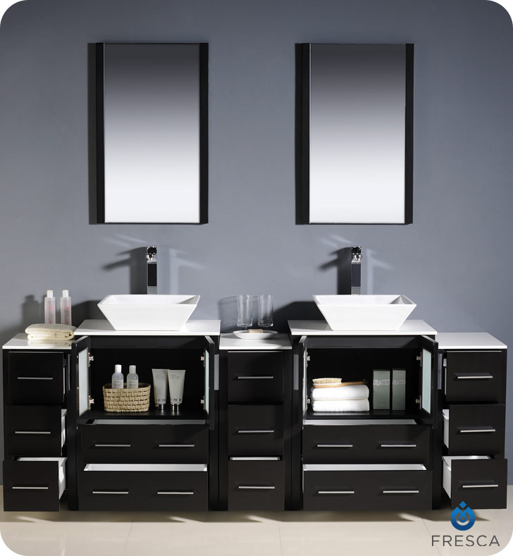 double vessel sink vanity. Torino Double Vessel Sink Vanity with optional 2 side cabinets 60  to 84 Espresso Bathgems com