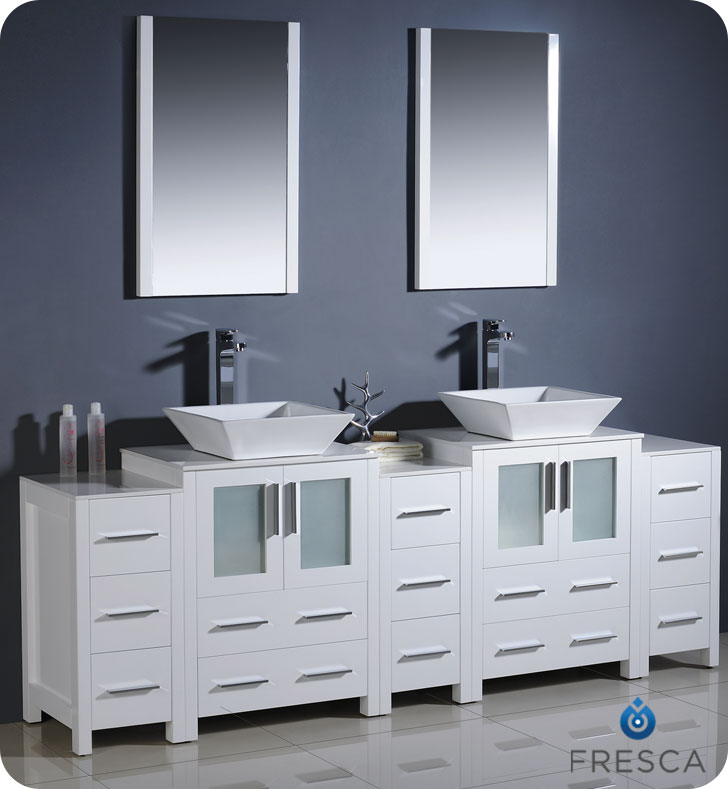 Torino Double Vessel Sink Vanity with optional 2 side cabinets 60  to 84 White Bathgems com