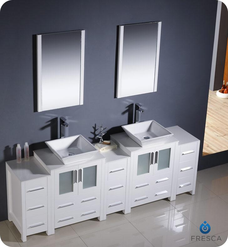 "60 Inch Bathroom Vanity With Vessel Sink 60"" to 84"" torino double vessel sink vanity - white - bathgems"