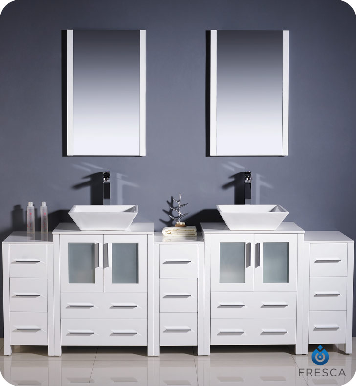 double bathroom sink cabinets. Torino Double Vessel Sink Vanity with optional 2 side cabinets 60  to 84 White Bathgems com